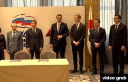 Predsednik Srbije Aleksandar Vučić tokom sastanka sa Andrejem Turčakom, zamenikom predsednika gornjeg doma ruskog parlamenta - Saveta Federacije, u Beogradu, 18. marta 2019.