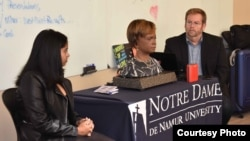 Bina48, her partner Alex Rodriguez and Bruce Duncan speaking at Notre Dame de Namur University.