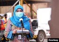Juru bicara Vaksin Covid-19 dari Kemenkes Dr Siti Nadia Tarmizi dalam telekonferensi pers di Bandara Soetta, Cengkareng , Selasa (2/2) mengatakan 500.000 nakes sudah divaksin (biro Setpres).
