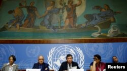 Christopher Sidoti, Marzuki Darusman and Radhika Coomaraswamy, members of the Independent International Fact-finding Mission on Myanmar attends a news conference on the publication of their final written report at the United Nations in Geneva, Switzerland
