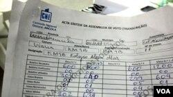 Acta síntese de uma secção de voto no município de Viana, em Luanda (VOA/Coque Mukuta)