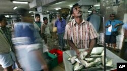 A Sri Lankan fisherman weighs fish for customers at the St. Jones fish market in Colombo, Sri Lanka.