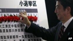 自民黨領導人、前首相安倍晉三在當選的議員名字上做記號
