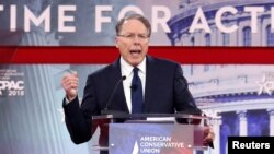 National Rifle Association Executive Vice President and CEO Wayne LaPierre speaks at the Conservative Political Action Conference at National Harbor, Md., Feb. 22, 2018.