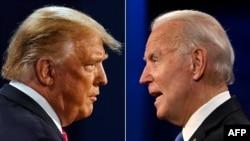 Rais Donald Trump kushoto and Makamu wa Rais wa zamani Joe Biden