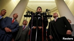 House Speaker Paul Ryan and House Republican Whip Steve Scalise (R-LA) introduce Representative Steve Stivers (R-OH), Representative Jason Smith (R-MO) and Representative Luke Messer (R-IN) as new members of the House Republican leadership team after November 15, 2016 file photo.