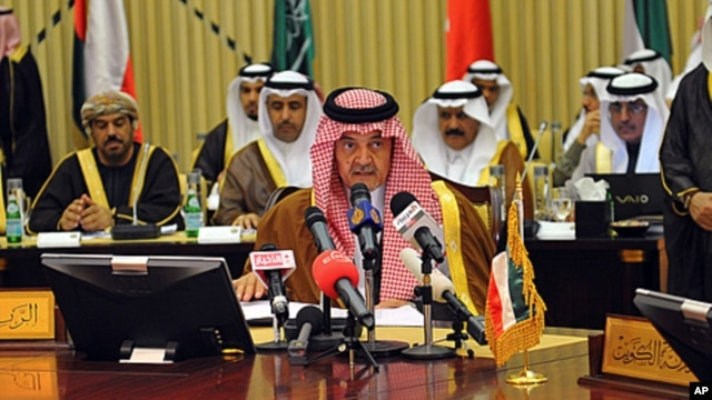 Saudi foreign minister Prince Saudi al-Faisal speaks during the Gulf Cooperation Council meeting in Riyadh, Saudi Arabia, March 4, 2012.