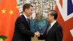 Ngoại trưởng Anh Jeremy Hunt (trái) bắt tay Ủy viên Quốc vụ viện Trung Quốc Vương Nghị tại một cuộc họp ở Bắc Kinh ngày 30/7/2018.