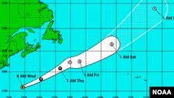 Trayectoria prevista del huracán Kate, que se alejará de la costa este de Estados Unidos (a la izquierda).