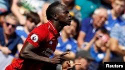 Sadio Mané pendant le match Leicester City / Liverpool le 1er septembre 2018.