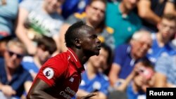 Sadio Mane célèbre son but contre Leicester City, Angleterre, le 1er septembre 2018