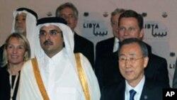 리비아 대책회의에 참석중인 대표들. 오른쪽은 반기문 유엔사무총장