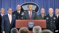 President Barack Obama speaks about defense strategic guidance, at the Pentagon, January 5, 2012. From left are, Army Secretary John McHugh, Defense Secretary Leon Panetta, Army Chief of Staff Gen. Raymond T. Odierno, the president, Marine Corps Commandan