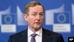 Irish Prime Minister Enda Kenny speaks at EU headquarters in Brussels, Feb. 23, 2017. Kenny will make the tradition St. Patrick's Day visit to the White House.
