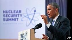 핵안보 정상회의에서 연설하는 바락 오바마 미국 대통령