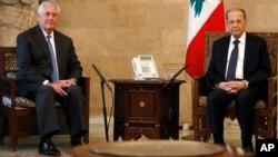 Госсекретарь США Рекс Тиллерсон и президент Ливана Мишель Аун. Ливан. 15 февраля 2018 г.