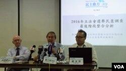 由泛民主派組成的「民主動力」星期五公佈民意調查結果(VOA湯惠芸攝)