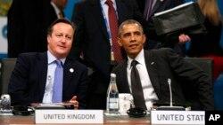 데이비드 캐머런 영국 총리(왼쪽)와 바락 오바마 미국 대통령(오른쪽)이 지난해 11월 호주 브리즈번에서 열린 주요20개국 정상회의에 참가해 대화하고 있다. (자료사진)