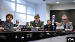 La representante de México, Flor de Lis Vasquez, el representante de Paraguay ante la OEA, Juan Miguel Gonzalez Bibolini, y Mauricio Eduardo Cortés Costa, secretario para el Desarrollo Integral.