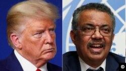 Le president americain Donald Trump (à g.) et le directeur général de l'OMS Dr Tedros Ghebreyesus.