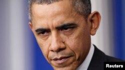 奧巴馬總統2013年12月20日在華盛頓召開年終記者會發言。