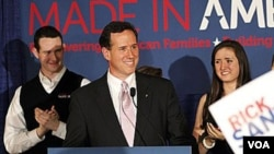 Kandidat Capres Partai Republik, Rick Santorum, memenangkan pemilu pendahuluan di Louisiana, Sabtu (24/3).