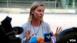 ຫົວໜ້ານະໂຍບາຍ ການຕ່າງປະເທດ ສະຫະພາບຢູໂຣບ ທ່ານນາງ Federica Mogherini ກ່າວຕໍ່ບັນດານັກຂ່າວທີ່ ນະຄອນ Vienna.