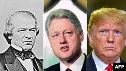 미국 역사상 탄핵 심판을 받거나 받게 된 3명의 대통령. 왼쪽부터 앤드류 존슨, 빌 클린턴, 도널드 트럼프 대통령.