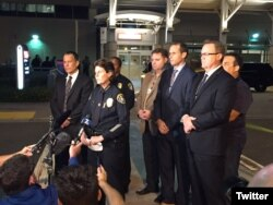 San Diego Police Chief Shelley Zimmerman speaks to reporters. (@SanDiegoPD)