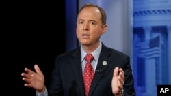 FILE - Rep. Adam Schiff, D-Calif., answers questions during an interview in Washington, Nov. 7, 2017.