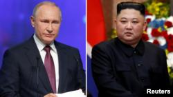 블라디미르 푸틴 러시아 대통령과 김정은 북한 국무위원장.