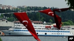 Turkish aid ship, the Mavi Marmara, is seen in Istanbul on May 30, 2011, one year after a Israeli raid left nine Turks dead.