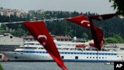 Turkish aid ship, the Mavi Marmara, is seen in Istanbul on May 30, 2011, one year after a Israeli raid left nine Turks dead.