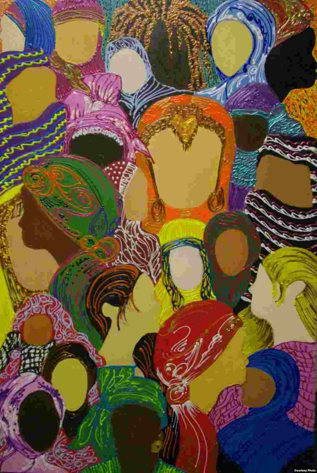By depicting Muslim women with and without headscarves, Kelly Izdihar Crosby, of the United States, shows the diversity of the Islamic global community. (International Museum of Women)