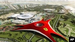 "A handout picture from Ferrari press office shows an artist's illustration of ""Ferrari World"" theme park, the first of its kind for the iconic Italian carmaker that is being constructed in Abu Dhabi, UAE, 15 Jul 2010"