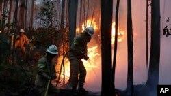 Bombeiros tentam combater as chamas num dos incêndios que deflagrou durante o verão de 2017