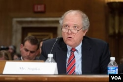 FILE - John Sopko, Special Inspector General for Afghanistan Reconstruction (SIGAR), testifies on Capitol Hill in Washington. Sopko says the main threat to the success of the war on terrorism is corruption.
