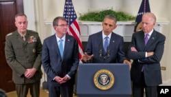 奧巴馬(右二)在白宮宣布暫緩從阿富汗撤軍步伐