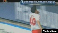 북한 조선중앙TV가 28일 방영한 '국제체육소식'. 한국 출신 손홍민 선수의 골 장면을 다루고 있지만, 손 선수를 언급하지는 않았다.