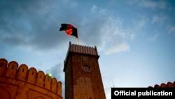 پرچم افغانستان در فراز ارگ ریاست جمهوری