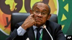 FILE - Confederation of African Football President Ahmad Ahmad speaks at a press conference in Addis Ababa, Ethiopia, March 16, 2017.