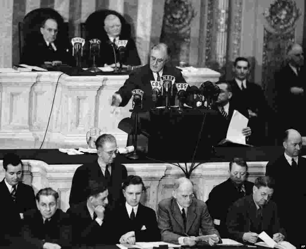 President Franklin D. Roosevelt addresses both houses of Congress in Washington, Jan.4, 1939, for a State of the Union speech focused largely on American defense.