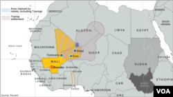 Location of Tuareg settlements