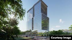 Bangunan komersial rancangan tim Ganeshantuy ITB dilengkapi facade kinetik yang bisa beradaptasi dengan iklim.