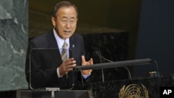 United Nations Secretary-General Ban Ki-moon addresses the United Nations General Assembly at United Nations headquarters on Thursday, Sept. 23, 2010. (AP Photo/Henny Ray Abrams)