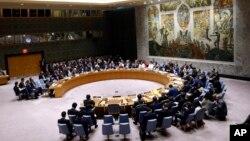 미국 뉴욕 유엔본부에서 열린 유엔 안보리 회의. (자료사진)