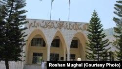 پاکستانی کنٹرول کے کشمیر کی قانون ساز اسمبلی کی عمارت کا ایک منظر
