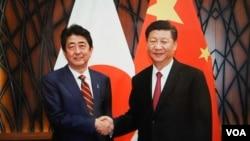 11月11日习近平在越南与安倍会谈前笑容握手(日本首相官邸档案图片)