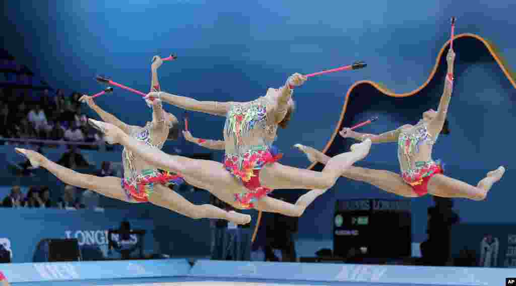 The Russian team performs during the 32nd rhythmic gymnastics world championships, in Kyiv, Ukraine.