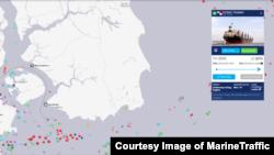 북한산 석탄을 실은 것으로 알려진 동탄 호가 지난 1일 말레이시아 최남단에서 동쪽으로 9km 떨어진 해상에 머물고 있다. 자료제공=MarineTraffic